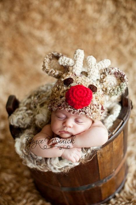 Reindeer Baby Beanie Hat