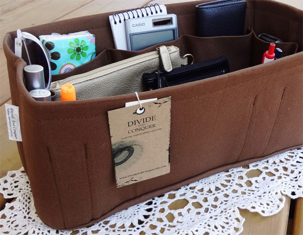 Brown Purse Insert Organizer by DivideAndConquer
