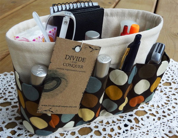 Brown Removable Purse Organizer by DivideAndConquer