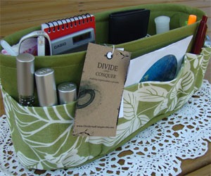 Green Flowers Purse Insert Organizer by divideandconquer