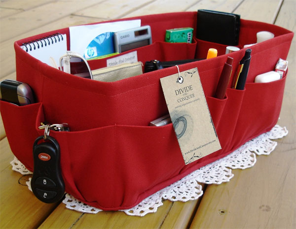 Red Purse Insert Organizer by DivideAndConquer