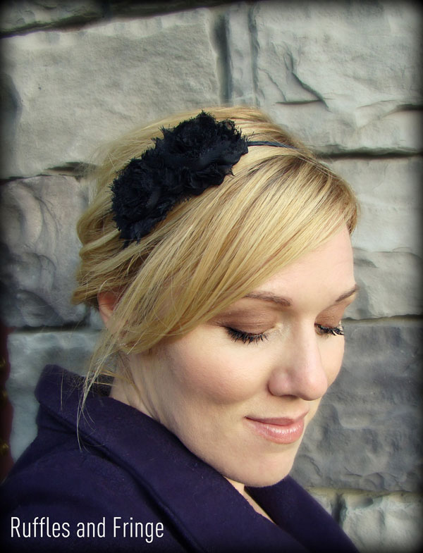 Black Headband with Flower