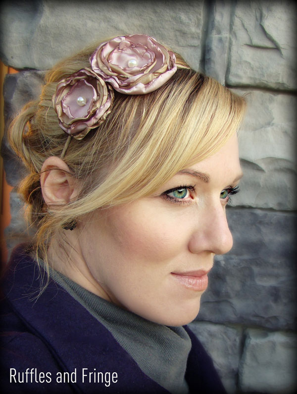 Dusty Rose Pink Flower Headbands