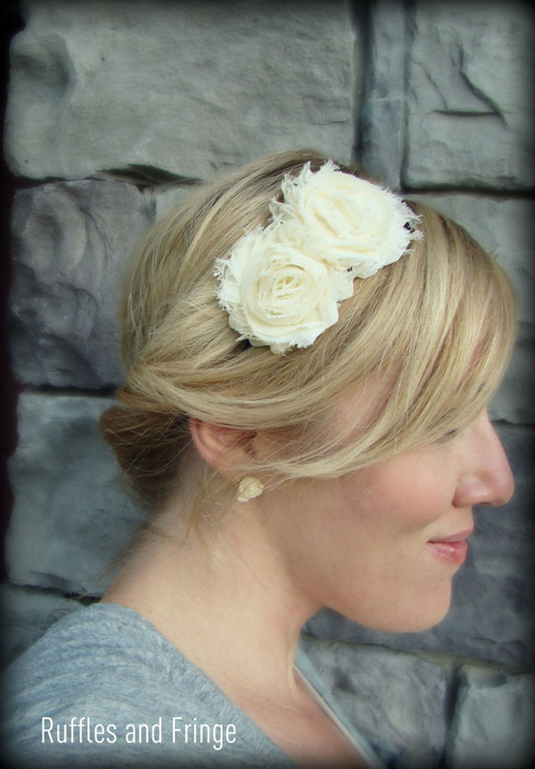 Ivory White Headband with Flower
