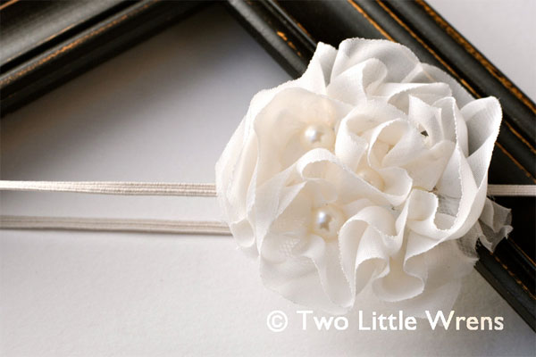 Ivory White Flower Headbands
