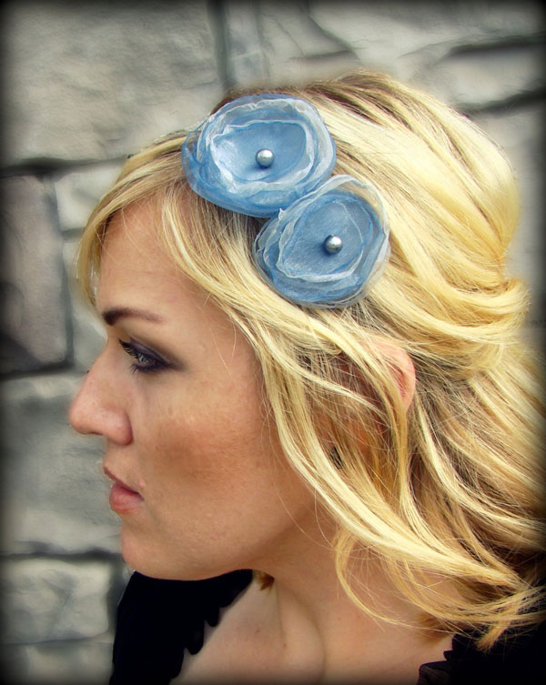 Silver Blue Flower Headbands